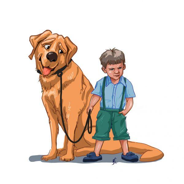Малыш с большой собакой. Художник Виктор Ковалев.